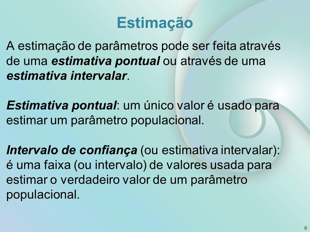 Estimação A estimação de parâmetros pode ser feita através de uma estimativa pontual ou através de uma estimativa intervalar. Estimativa pontual: um ú