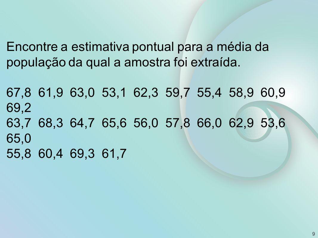 Encontre a estimativa pontual para a média da população da qual a amostra foi extraída. 67,8 61,9 63,0 53,1 62,3 59,7 55,4 58,9 60,9 69,2 63,7 68,3 64
