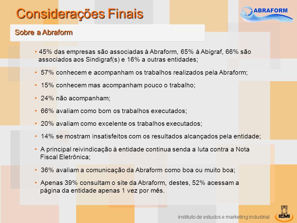 instituto de estudos e marketing industrial 45% das empresas são associadas à Abraform, 65% à Abigraf, 66% são associados aos Sindigraf(s) e 16% a out