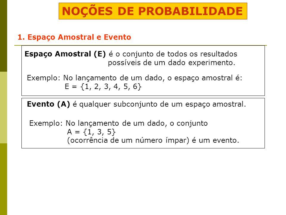 NOÇÕES DE PROBABILIDADE 1. Espaço Amostral e Evento Espaço Amostral (E) é o conjunto de todos os resultados possíveis de um dado experimento. Exemplo: