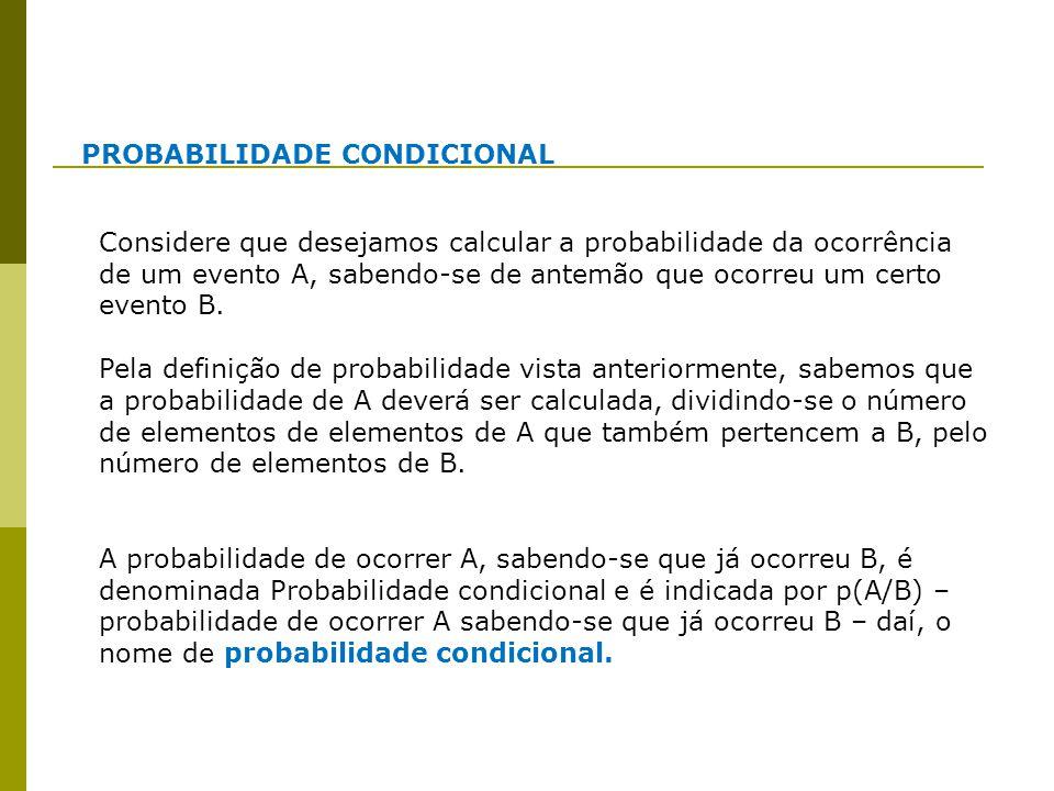 PROBABILIDADE CONDICIONAL Considere que desejamos calcular a probabilidade da ocorrência de um evento A, sabendo-se de antemão que ocorreu um certo ev