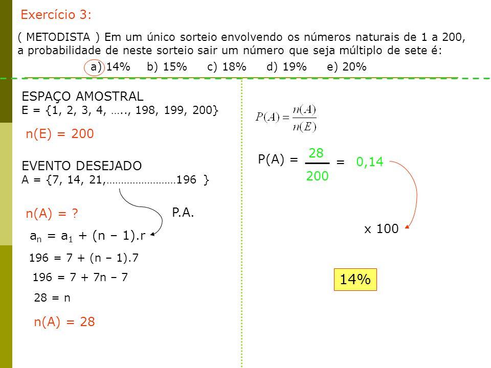 Exercício 3: ( METODISTA ) Em um único sorteio envolvendo os números naturais de 1 a 200, a probabilidade de neste sorteio sair um número que seja múl