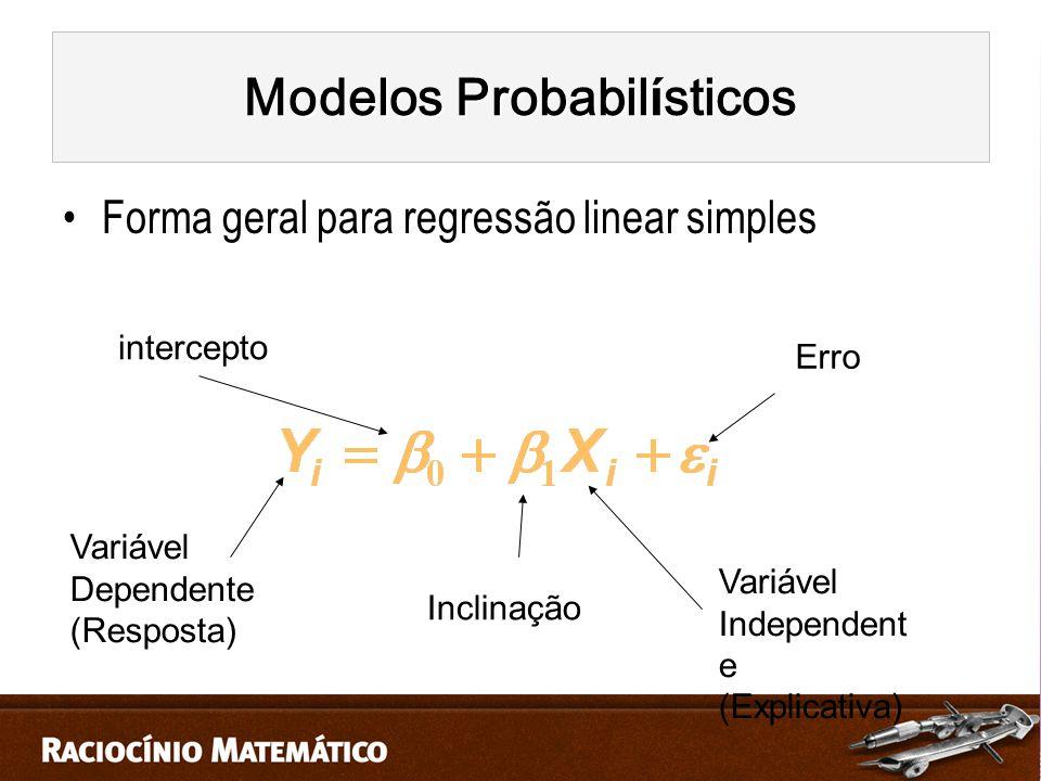 Forma geral para regressão linear simples intercepto Inclinação Erro Variável Dependente (Resposta) Variável Independent e (Explicativa) Modelos Probabil í sticos