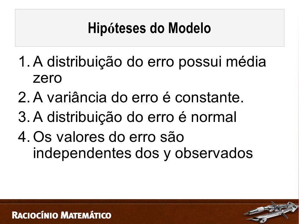 1.A distribuição do erro possui média zero 2.A variância do erro é constante.