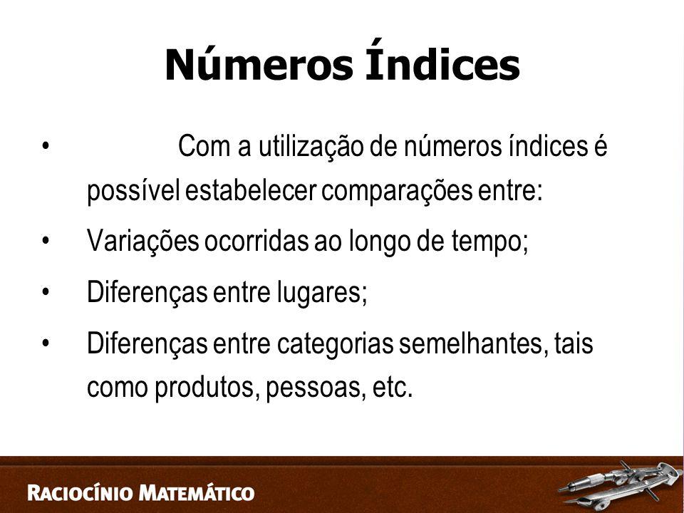 Números Índices Com a utilização de números índices é possível estabelecer comparações entre: Variações ocorridas ao longo de tempo; Diferenças entre lugares; Diferenças entre categorias semelhantes, tais como produtos, pessoas, etc.