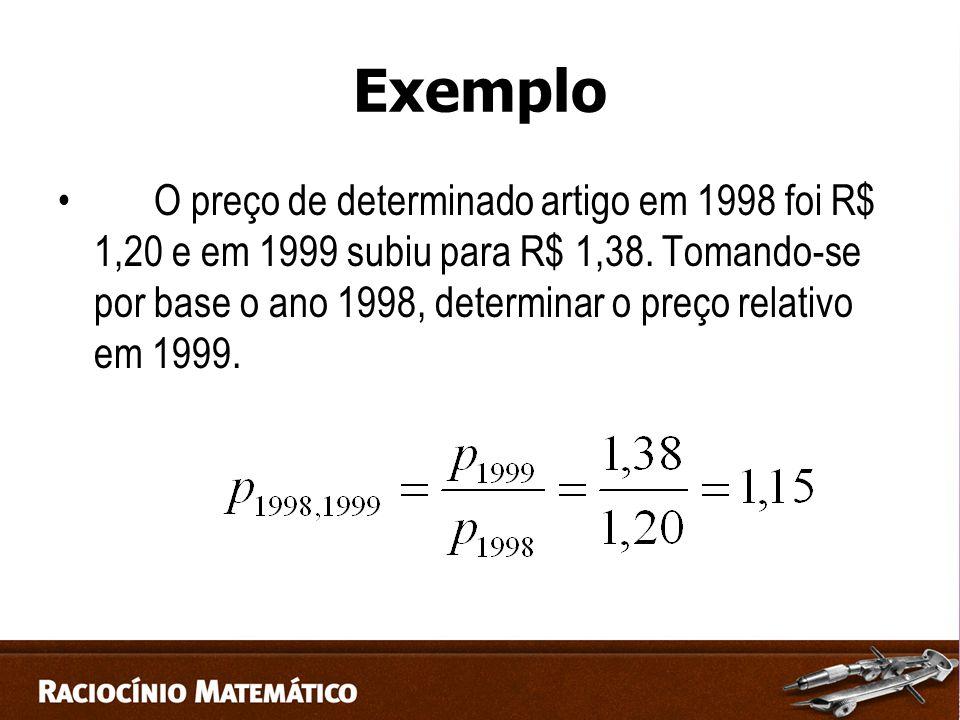 Exemplo O preço de determinado artigo em 1998 foi R$ 1,20 e em 1999 subiu para R$ 1,38.
