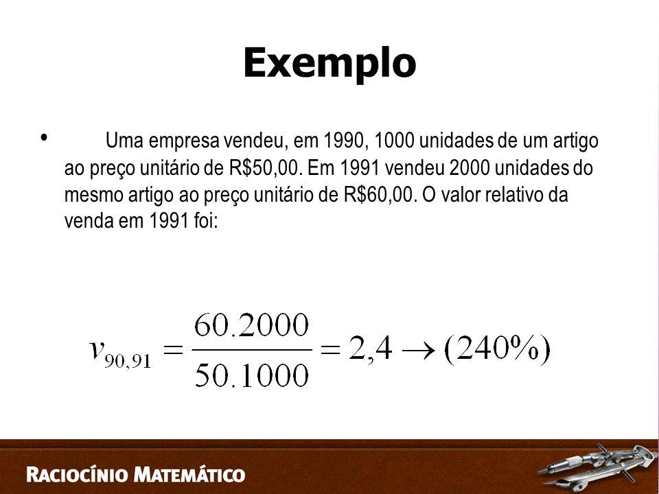 Exemplo Uma empresa vendeu, em 1990, 1000 unidades de um artigo ao preço unitário de R$50,00.