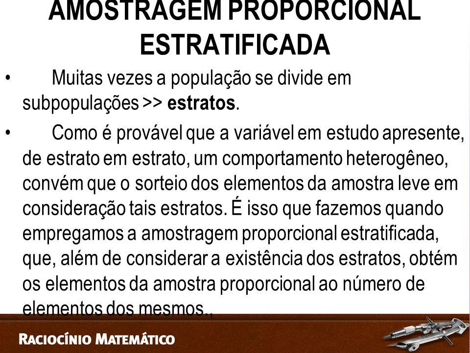 AMOSTRAGEM PROPORCIONAL ESTRATIFICADA Muitas vezes a população se divide em subpopulações >> estratos.