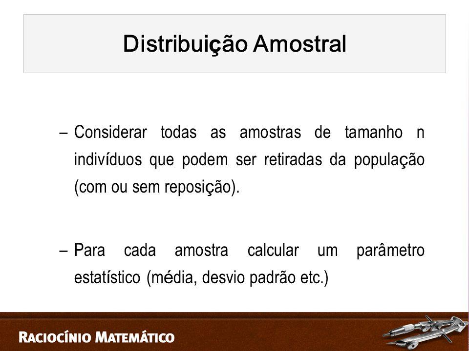 –Considerar todas as amostras de tamanho n indiv í duos que podem ser retiradas da popula ç ão (com ou sem reposi ç ão).