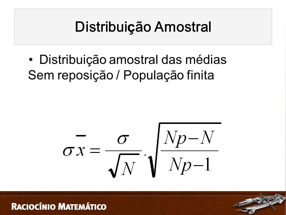 Distribuição amostral das médias Sem reposição / População finita Distribui ç ão Amostral