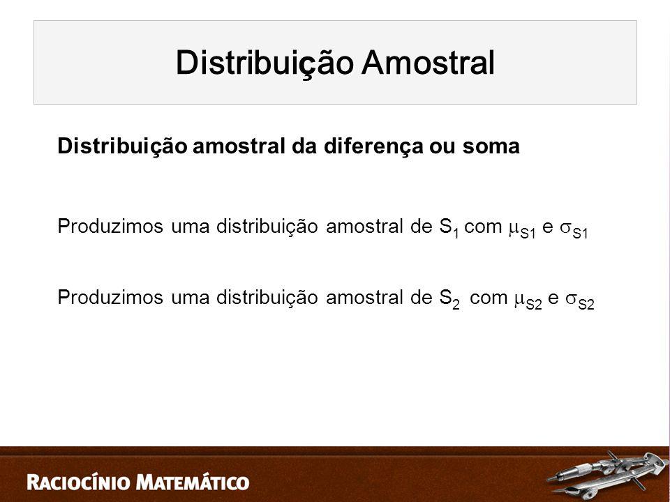 Distribuição amostral da diferença ou soma Produzimos uma distribuição amostral de S 1 com  S1 e  S1 Produzimos uma distribuição amostral de S 2 com  S2 e  S2 Distribui ç ão Amostral