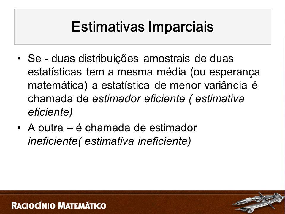 Se - duas distribuições amostrais de duas estatísticas tem a mesma média (ou esperança matemática) a estatística de menor variância é chamada de estimador eficiente ( estimativa eficiente) A outra – é chamada de estimador ineficiente( estimativa ineficiente)