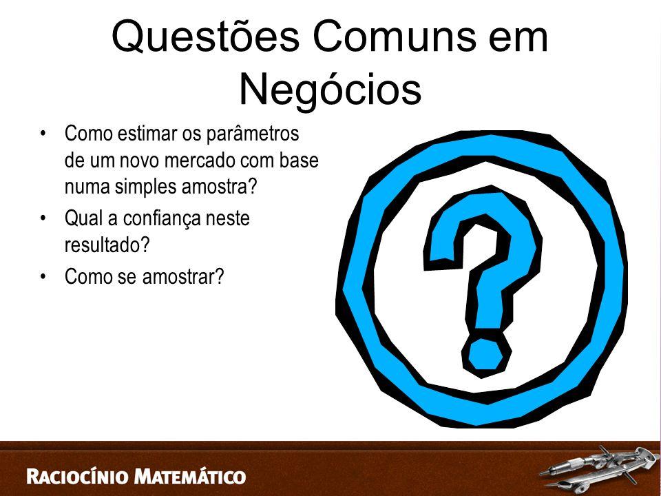 Questões Comuns em Negócios Como estimar os parâmetros de um novo mercado com base numa simples amostra.