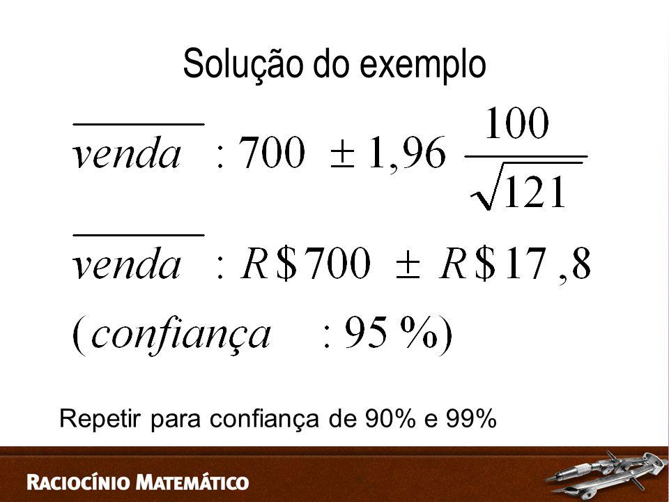 Solução do exemplo Repetir para confiança de 90% e 99%
