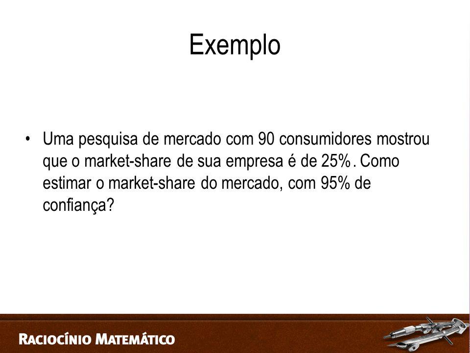 Exemplo Uma pesquisa de mercado com 90 consumidores mostrou que o market-share de sua empresa é de 25%.