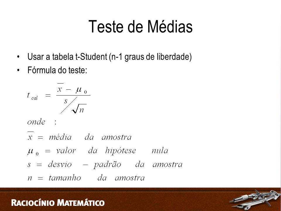 Teste de Médias Usar a tabela t-Student (n-1 graus de liberdade) Fórmula do teste: