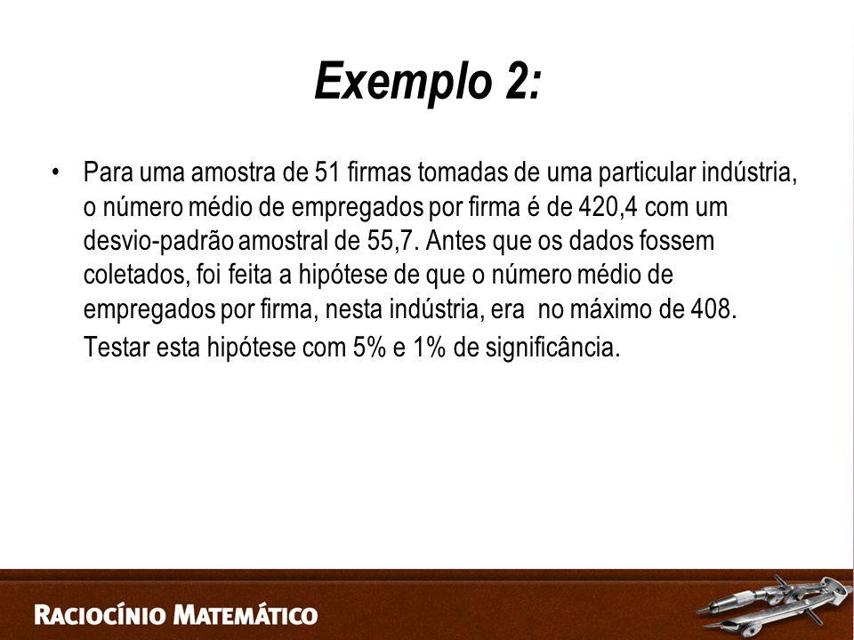 Exemplo 2: Para uma amostra de 51 firmas tomadas de uma particular indústria, o número médio de empregados por firma é de 420,4 com um desvio-padrão amostral de 55,7.