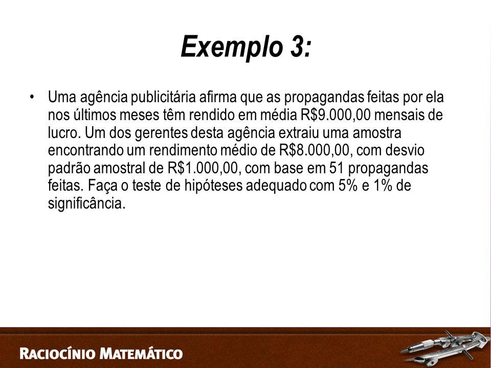 Exemplo 3: Uma agência publicitária afirma que as propagandas feitas por ela nos últimos meses têm rendido em média R$9.000,00 mensais de lucro.