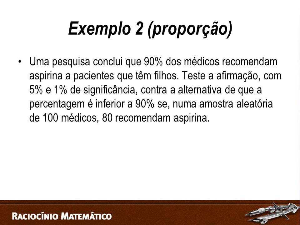 Exemplo 2 (proporção) Uma pesquisa conclui que 90% dos médicos recomendam aspirina a pacientes que têm filhos.