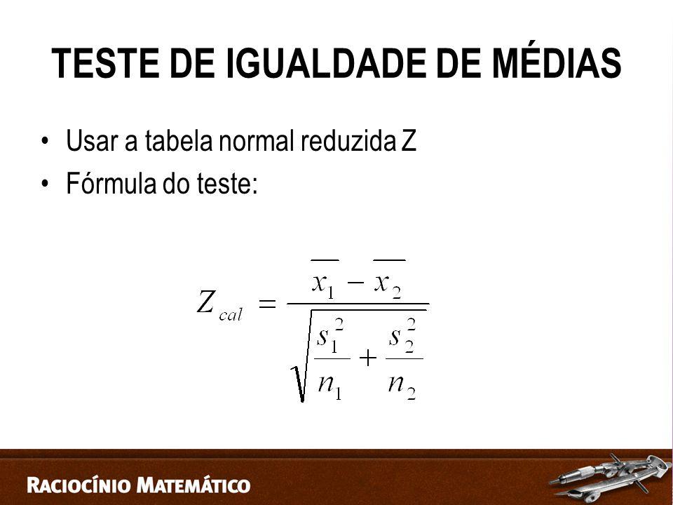 TESTE DE IGUALDADE DE MÉDIAS Usar a tabela normal reduzida Z Fórmula do teste: