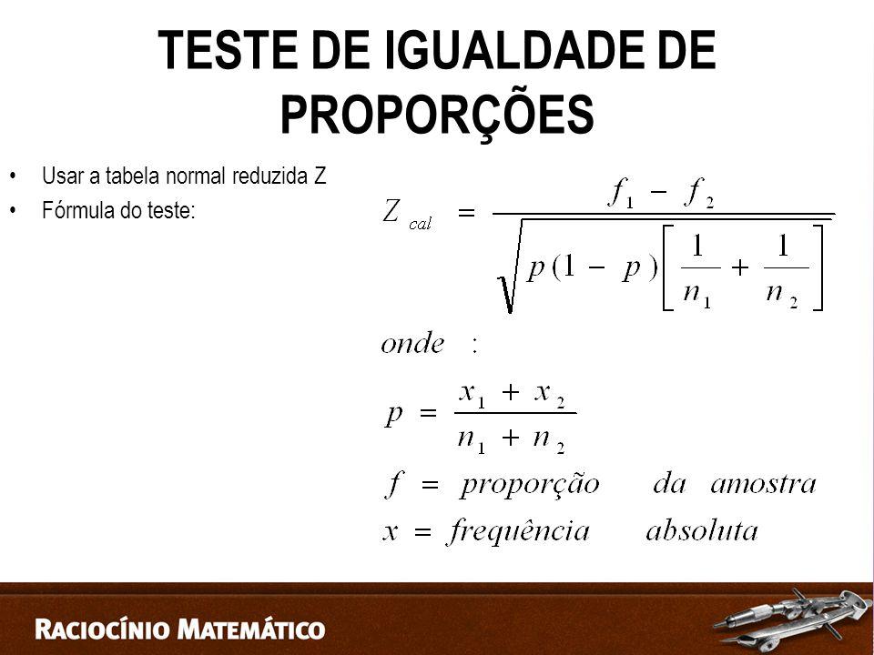 TESTE DE IGUALDADE DE PROPORÇÕES Usar a tabela normal reduzida Z Fórmula do teste: