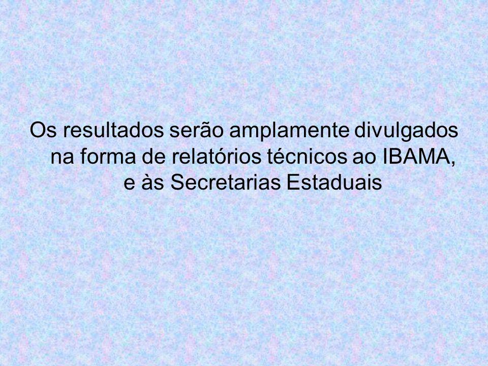 Os resultados serão amplamente divulgados na forma de relatórios técnicos ao IBAMA, e às Secretarias Estaduais