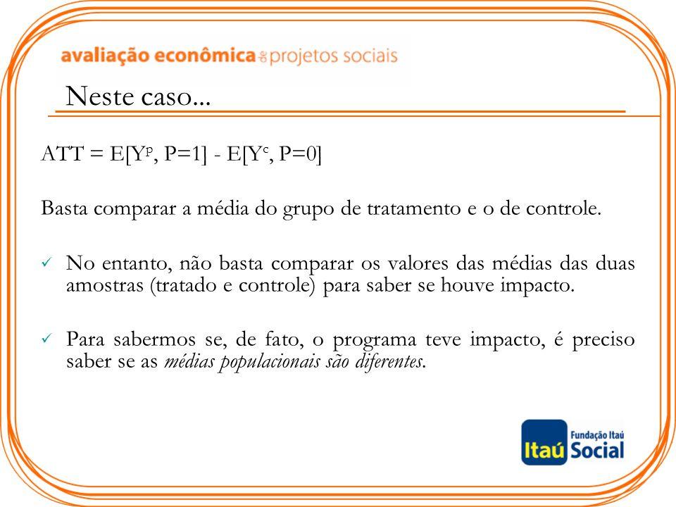 ATT = E[Y p, P=1] - E[Y c, P=0] Basta comparar a média do grupo de tratamento e o de controle. No entanto, não basta comparar os valores das médias da
