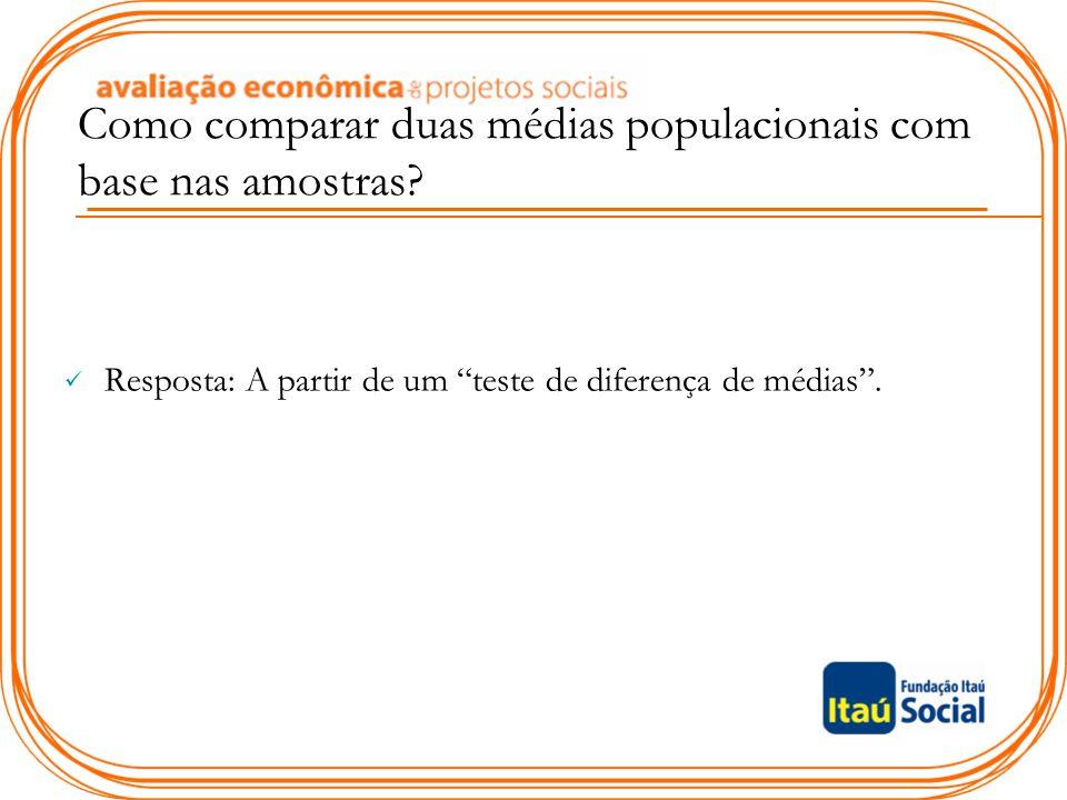 """Como comparar duas médias populacionais com base nas amostras? Resposta: A partir de um """"teste de diferença de médias""""."""