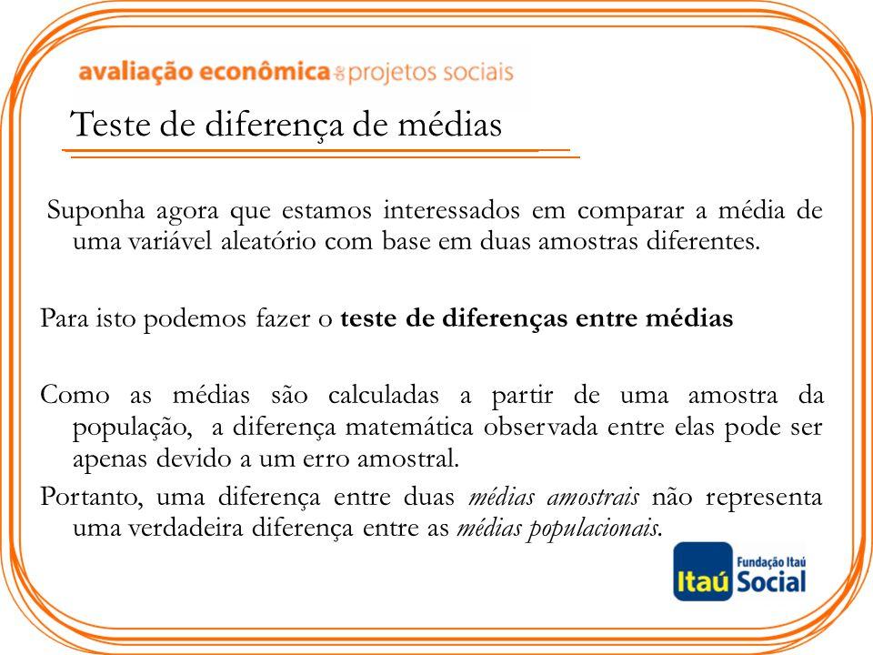 Teste de diferença de médias Suponha agora que estamos interessados em comparar a média de uma variável aleatório com base em duas amostras diferentes