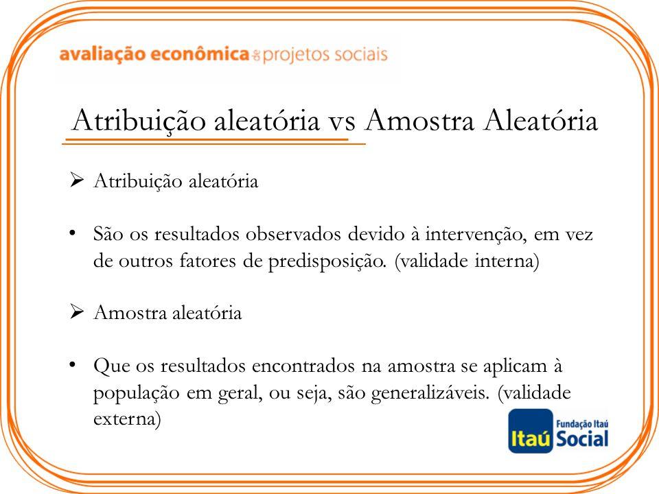 Atribuição aleatória vs Amostra Aleatória  Atribuição aleatória São os resultados observados devido à intervenção, em vez de outros fatores de predis