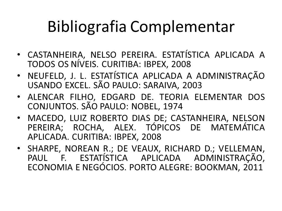Bibliografia Complementar CASTANHEIRA, NELSO PEREIRA. ESTATÍSTICA APLICADA A TODOS OS NÍVEIS. CURITIBA: IBPEX, 2008 NEUFELD, J. L. ESTATÍSTICA APLICAD