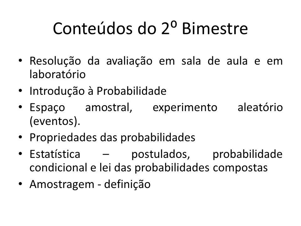 Conteúdos do 2⁰ Bimestre Resolução da avaliação em sala de aula e em laboratório Introdução à Probabilidade Espaço amostral, experimento aleatório (ev