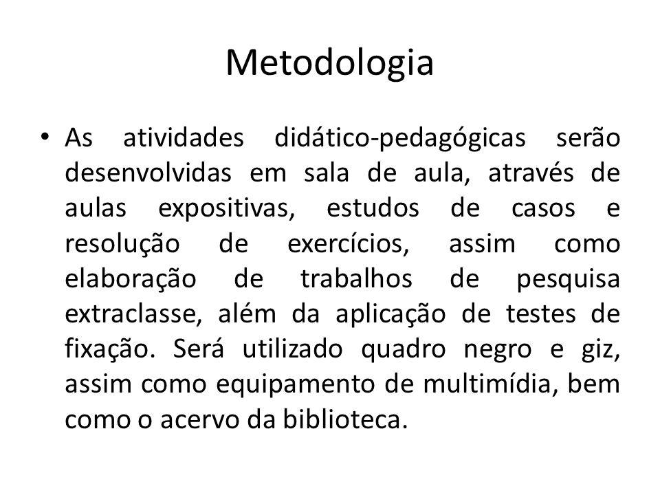 Metodologia As atividades didático-pedagógicas serão desenvolvidas em sala de aula, através de aulas expositivas, estudos de casos e resolução de exer