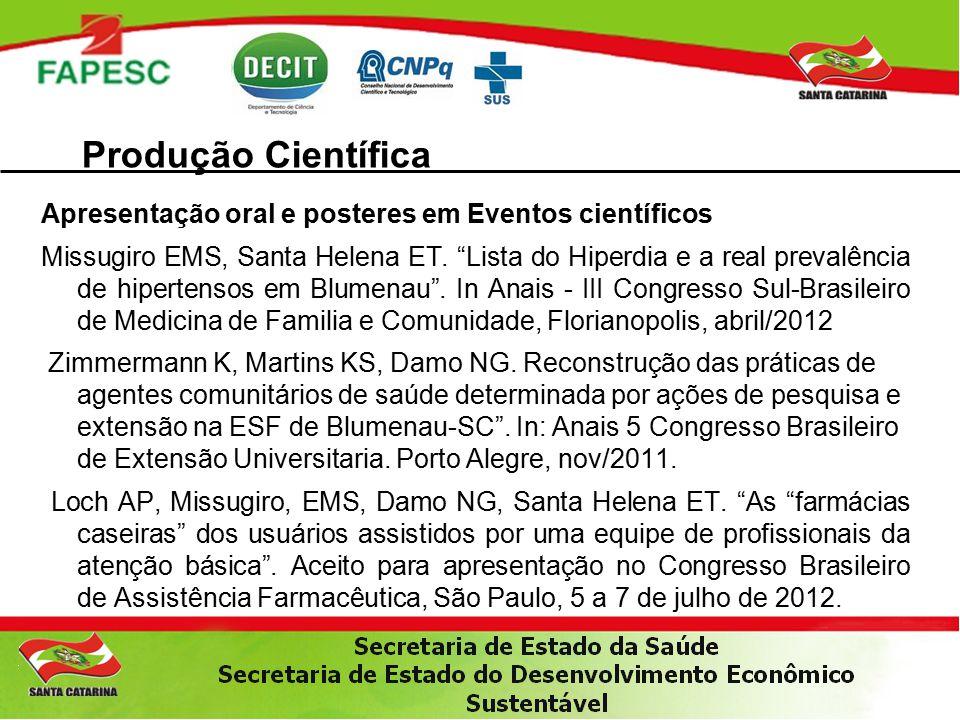 Apresentação oral e posteres em Eventos científicos Missugiro EMS, Santa Helena ET.