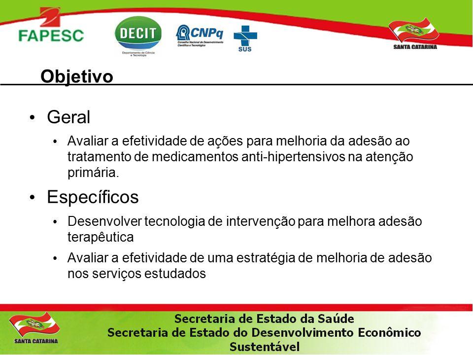 Objetivo Geral Avaliar a efetividade de ações para melhoria da adesão ao tratamento de medicamentos anti-hipertensivos na atenção primária.