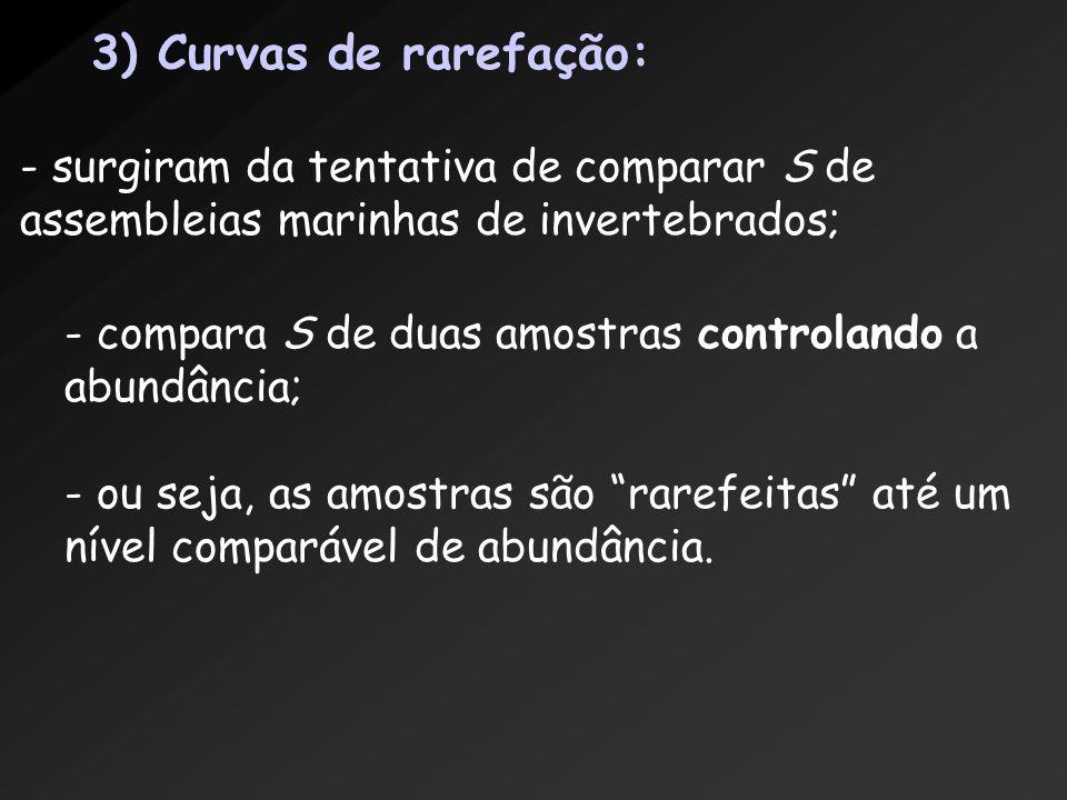 3) Curvas de rarefação: - surgiram da tentativa de comparar S de assembleias marinhas de invertebrados; - compara S de duas amostras controlando a abu