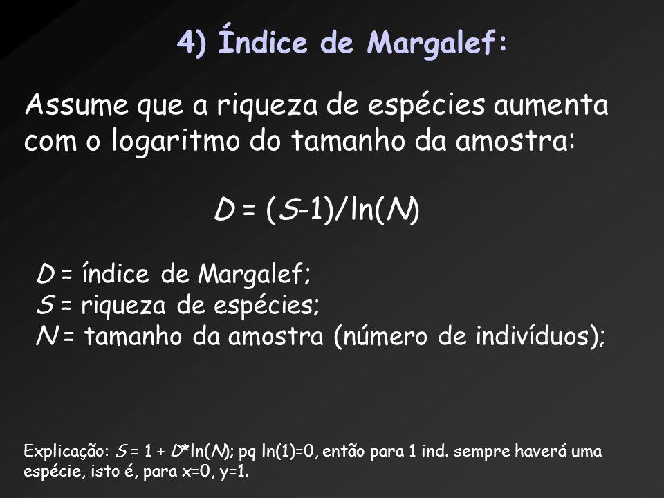 4) Índice de Margalef: Assume que a riqueza de espécies aumenta com o logaritmo do tamanho da amostra: D = (S-1)/ln(N) D = índice de Margalef; S = riq