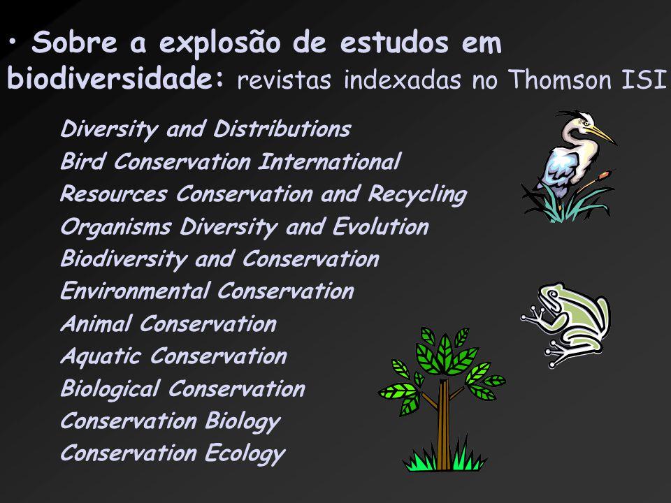 Sobre a explosão de estudos em biodiversidade: revistas indexadas no Thomson ISI Diversity and Distributions Bird Conservation International Resources