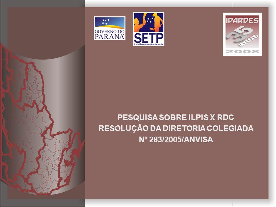 Pesquisa sobre ILPIs X RDC - Nº 283/2005/ANVISA Modelo comparativo de situações levantadas pela pesquisa com o regulamento técnico da ANVISA para o funcionamento das instituições de longa permanência para idosos.