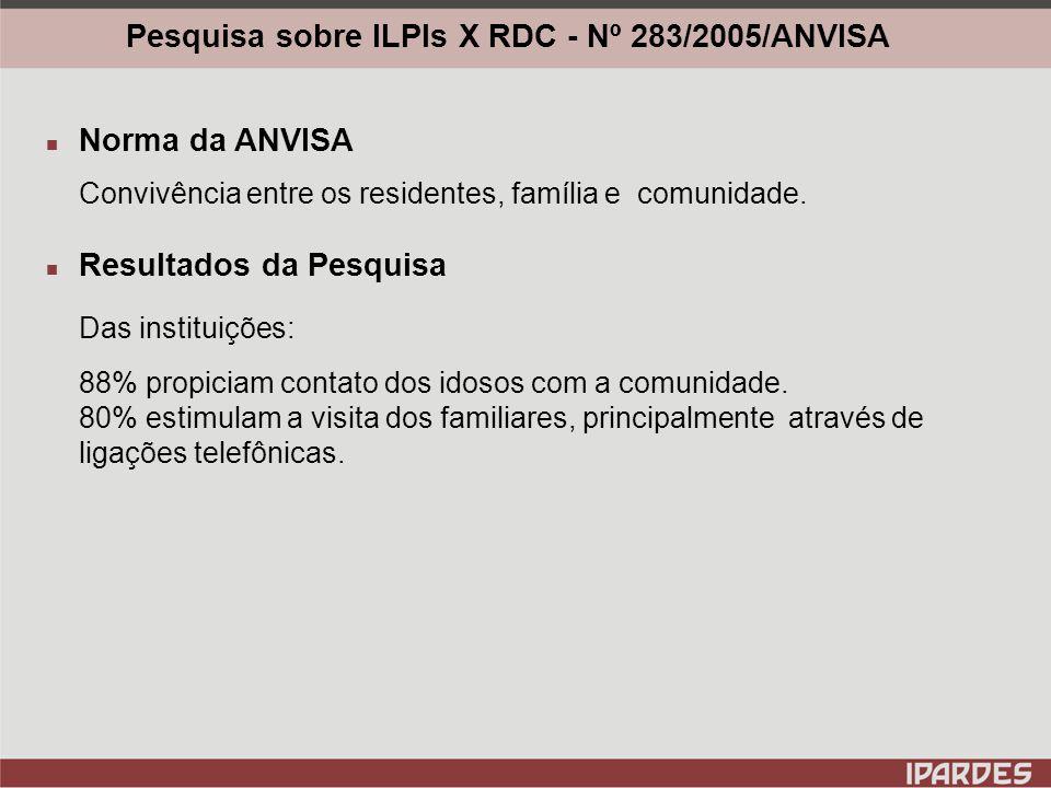 Pesquisa sobre ILPIs X RDC - Nº 283/2005/ANVISA Norma da ANVISA Condições de armazenamento e preparo de alimentos.