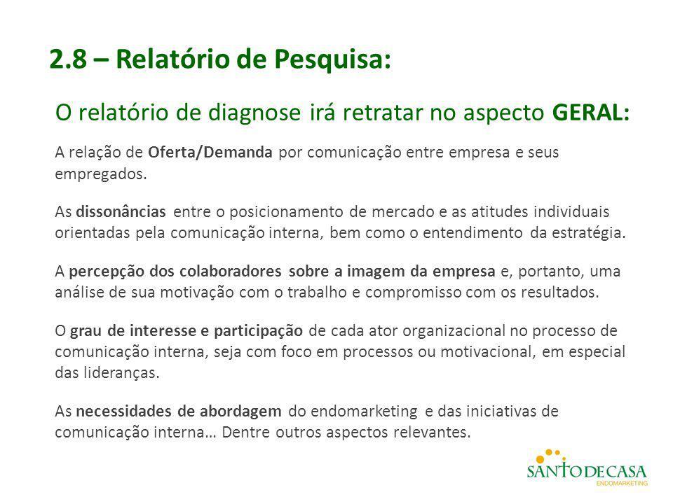 2.8 – Relatório de Pesquisa: O relatório de diagnose irá retratar no aspecto GERAL: A relação de Oferta/Demanda por comunicação entre empresa e seus e