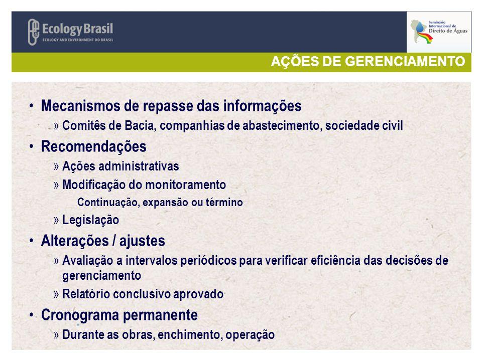 AÇÕES DE GERENCIAMENTO Mecanismos de repasse das informações » Comitês de Bacia, companhias de abastecimento, sociedade civil Recomendações » Ações ad