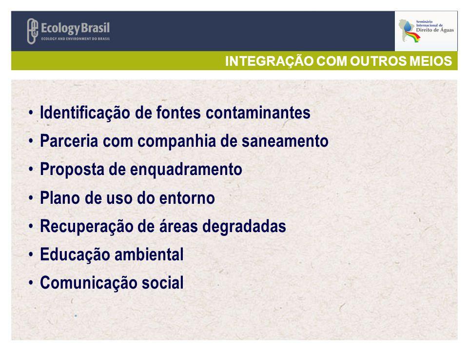 INTEGRAÇÃO COM OUTROS MEIOS Identificação de fontes contaminantes Parceria com companhia de saneamento Proposta de enquadramento Plano de uso do entorno Recuperação de áreas degradadas Educação ambiental Comunicação social