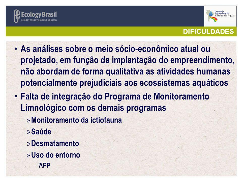 As análises sobre o meio sócio-econômico atual ou projetado, em função da implantação do empreendimento, não abordam de forma qualitativa as atividade