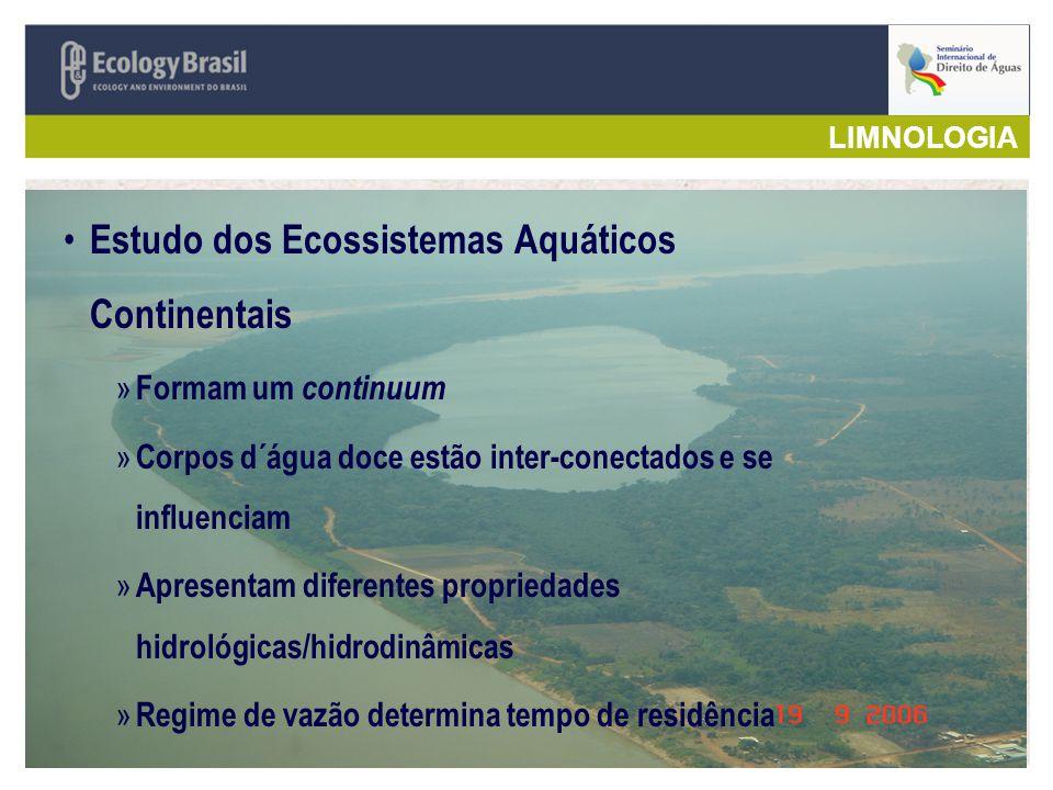 LIMNOLOGIA Estudo dos Ecossistemas Aquáticos Continentais » Formam um continuum » Corpos d´água doce estão inter-conectados e se influenciam » Apresen