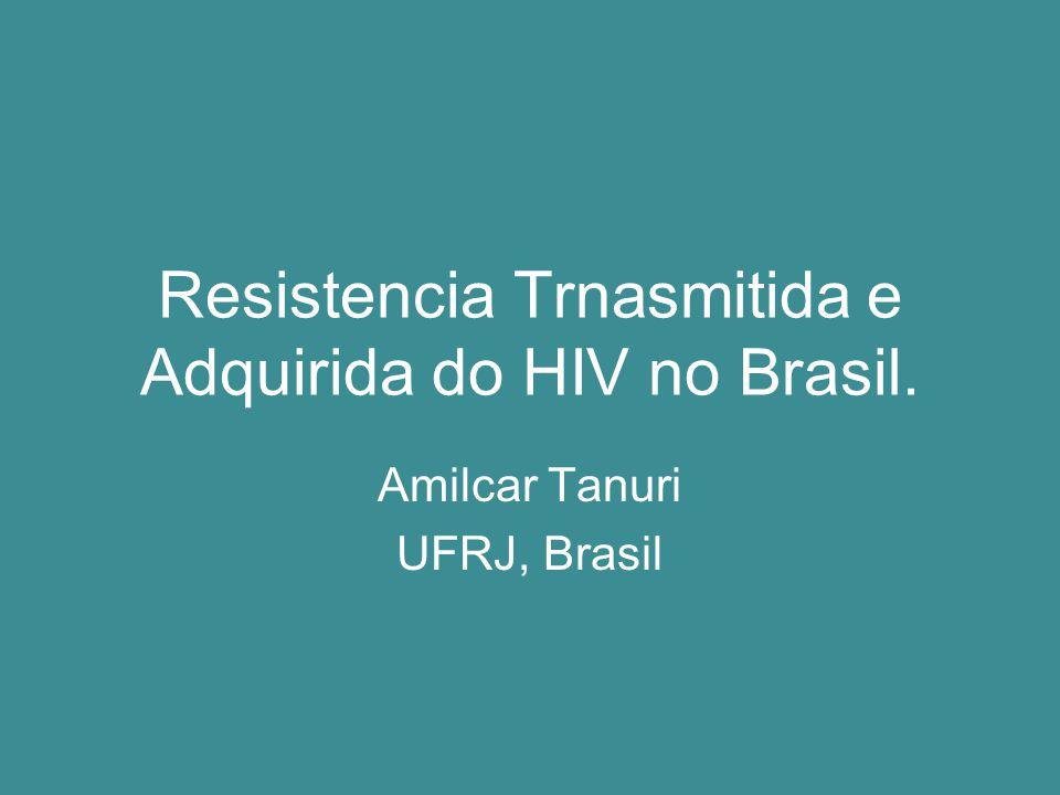 Tipos de Resistencia Resistencia Transmitida ou Primaria – Aquela que foi transmida de um individuo em uso de TARV para outro virgem de tratamento.