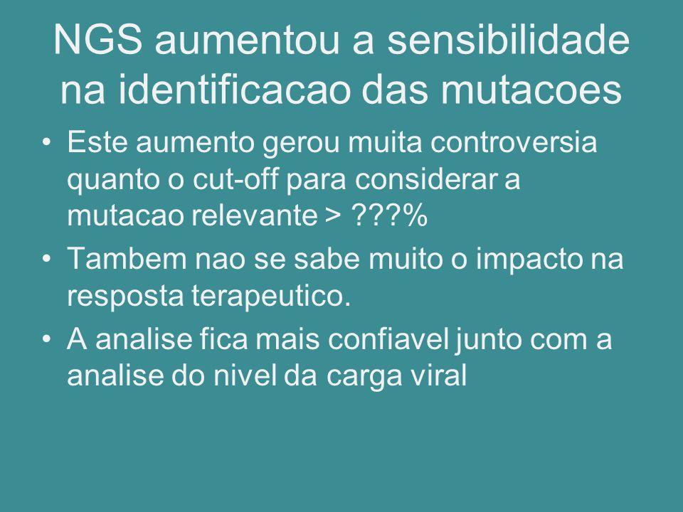 NGS aumentou a sensibilidade na identificacao das mutacoes Este aumento gerou muita controversia quanto o cut-off para considerar a mutacao relevante