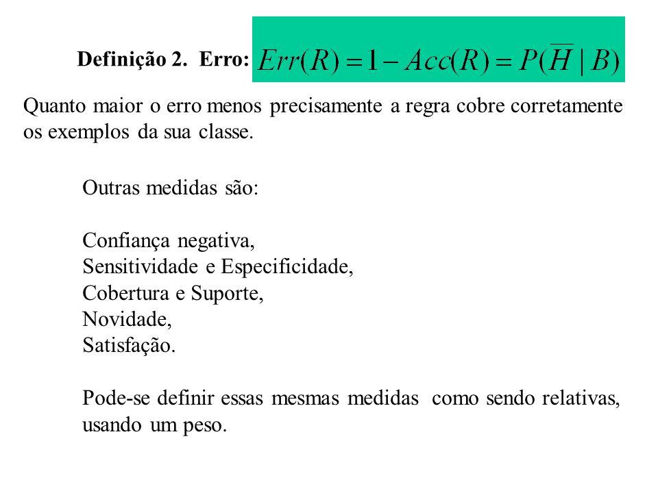 Definição 2. Erro: Quanto maior o erro menos precisamente a regra cobre corretamente os exemplos da sua classe. Outras medidas são: Confiança negativa