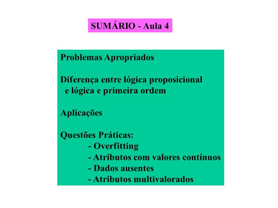 SUMÁRIO - Aula 4 Problemas Apropriados Diferença entre lógica proposicional e lógica e primeira ordem Aplicações Questões Práticas: - Overfitting - At