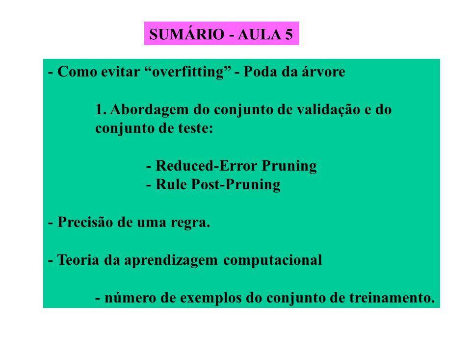 """SUMÁRIO - AULA 5 - Como evitar """"overfitting"""" - Poda da árvore 1. Abordagem do conjunto de validação e do conjunto de teste: - Reduced-Error Pruning -"""